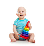 happy baby boy playing with colorful toy isolated on white