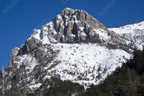 Snowy mountain peak at the Maritime Alps