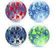 Glass balls Love paw print.Vector
