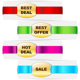 vector illustration of colorful ribbon tag for promotion poster