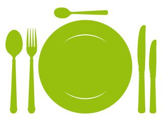 Couverts verts. Icône repas.