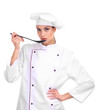 Portrait of young woman chef with ladle isolated on white