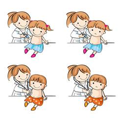 注射をされる女の子 診察される女の子