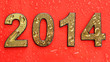 2014 in golden numbers, on red background