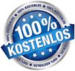 """Button Banner """"100% Kostenlos"""" blau/silber"""