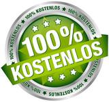 """Button Banner """"100% Kostenlos"""" grün/silber"""