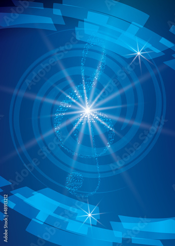 abstract blue musical background with treble clef and rays - vec