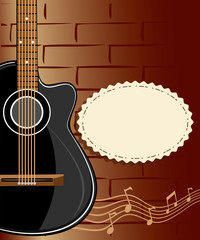 Guitar and a brick wall. Guitar illustration
