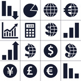 Finance, money, currency exchange, world economy icons