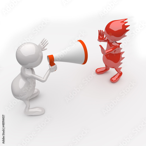 3D People Yelling in a Megaphone