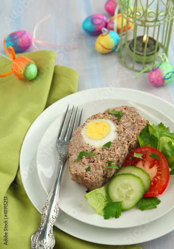 Sliced meatloaf with egg