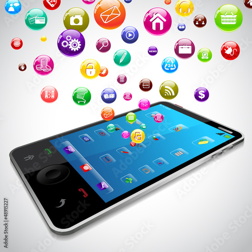 vector illustration of Application coming out of mobile screen