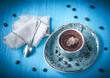 Espresso on a blue vintage background