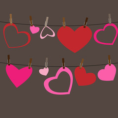 Hearts attached to a clothesline with pin