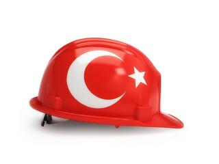 Turkey flag on construction helmet