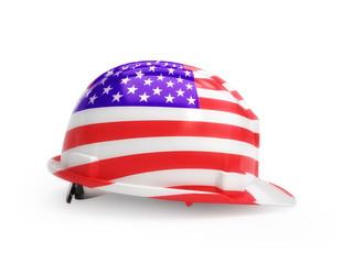 United States flag on construction helmet