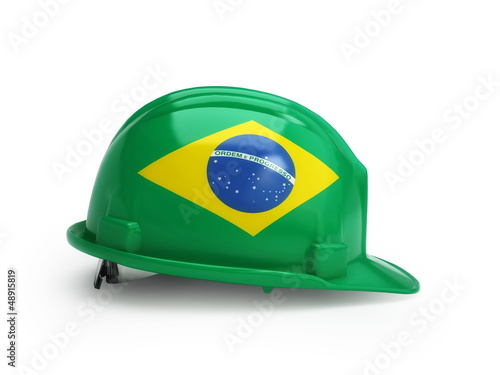 Brazilian flag on construction helmet