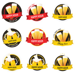 Set of happy hour restaurant, bar labels and badges