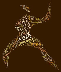Karate pictogram on brown background