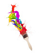 Colored paint splashes splashing from paintbrush on white