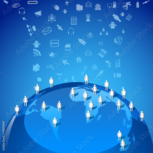 vector illustration of human networking along globe