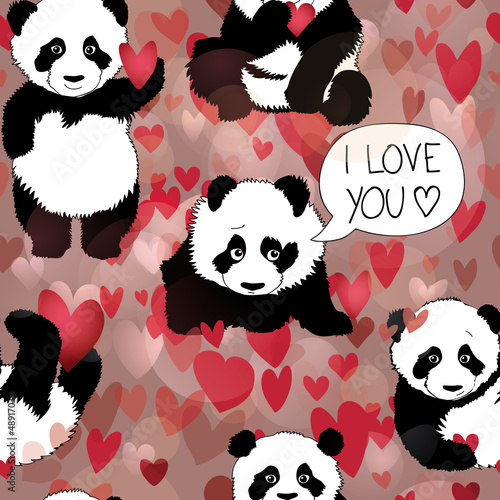 Cute Panda falls in love / Romantic seamless wallpaper