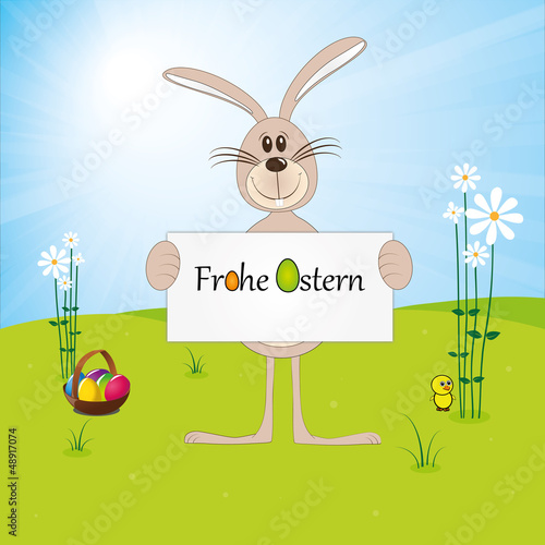 Frohe Ostern - Osterhase - Osterei - Küken