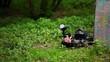 Boy paintball player lies with gun in ambush on grass near fence
