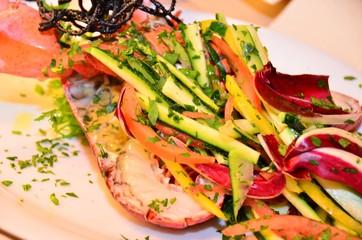 Aragosta con verdurine grigliate