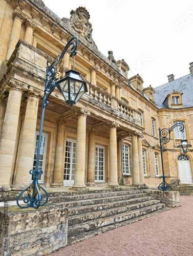 Entrance of Dree castle and fountain, Curbigny, Bourgogne