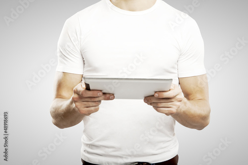 man holding touch pad
