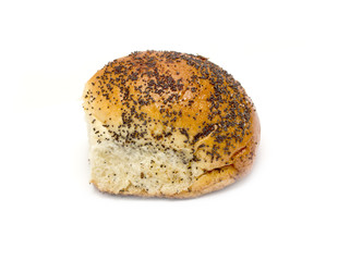 Bun with poppy seeds on a white background
