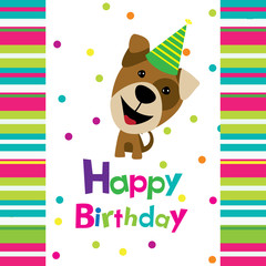 Vector birthday card with a dog