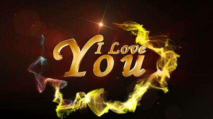 I Love You, Text in Particle Red - HD1080