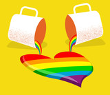 gay love card.Vector poster with two cups and abstract gay heart