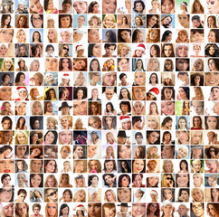 A large collage of many different happy female portraits
