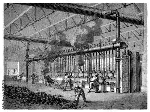 Factory 19th century : Coal distillation