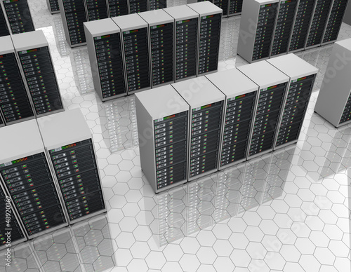 Datacenter: server room with server clusters.
