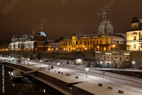 canvas print picture Winternacht in Dresden