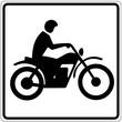 Schild weiß - Motorradfahrer
