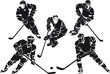 set of hockey players, silhouette
