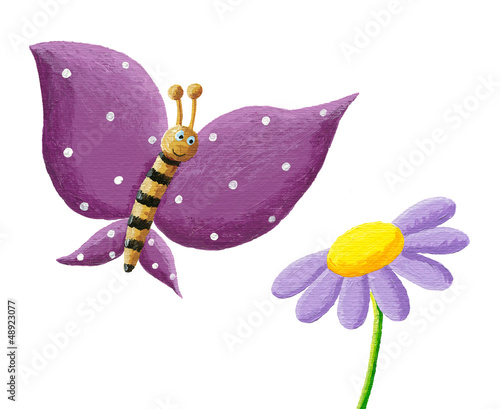 Cute purple butterfly and flower