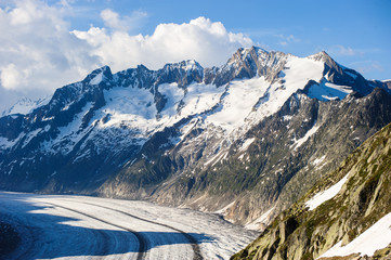 Schoenenbuelhorn and Wannenhorn with aletsch glacier