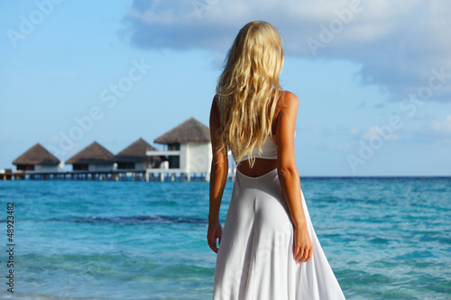 woman on tropical beach