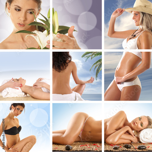 A collage of images with sexy women relaxing on a vacation