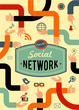 social network, media and communication in vintage style