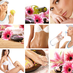 A collage of spa treatment images with women and petals