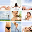 A spa collage with young women and beautiful nature