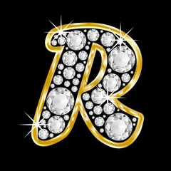 golden R with diamonds