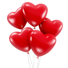 Group of red heart shaped balloons